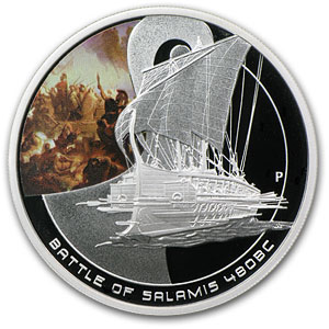 2010 Cook Islands 1 oz Silver Battle of Salamis Proof